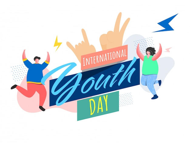 Fuente del día internacional de la juventud con el símbolo de la roca, dibujos animados de niño y niña bailando sobre fondo blanco abstracto.