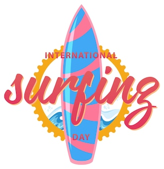 Fuente del día internacional del surf con un banner de tabla de surf aislado