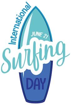 Fuente del día internacional del surf en banner de tabla de surf aislado