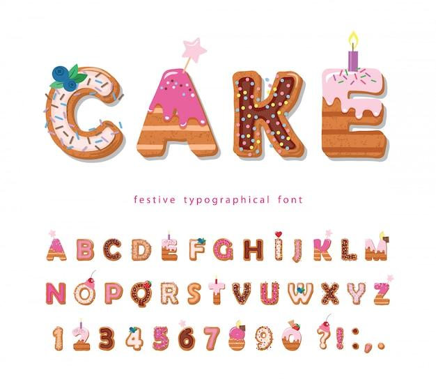 Fuente de dibujos animados de pastel. lindas letras y números dulces para el diseño de cumpleaños.