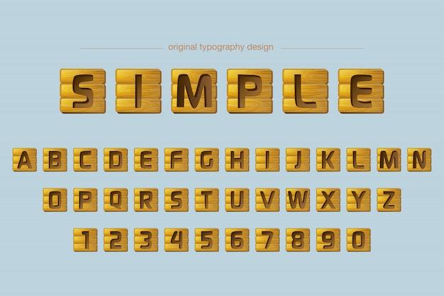 Fuente de diseño de tipografía de azulejos de madera