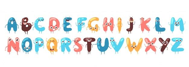 Fuente divertida caracteres personajes de dibujos animados con caras sonrientes, alfabeto inglés. fuente tipográfica para niños, tipografía colorida divertida, letras lindas