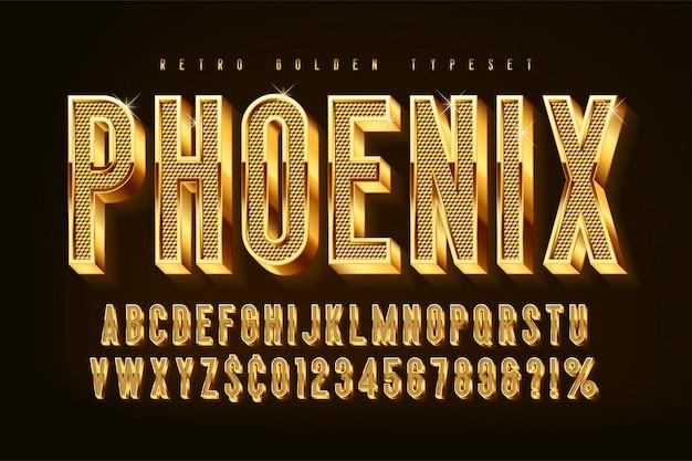 Fuente dorada brillante 3d, letras doradas y números