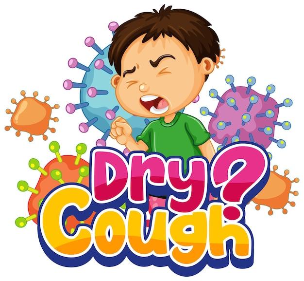 Fuente dry cough en estilo de dibujos animados con un niño estornudando aislado sobre fondo blanco.