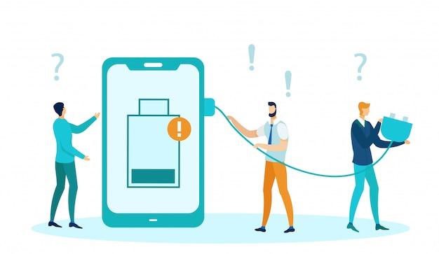 Fuente de energía descargada en el teléfono, batería baja.