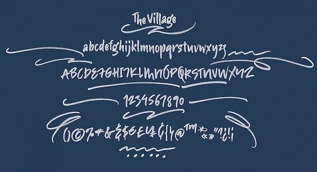 Fuente de escritura manuscrita. pincel de fuente. mayúsculas, números, puntuación