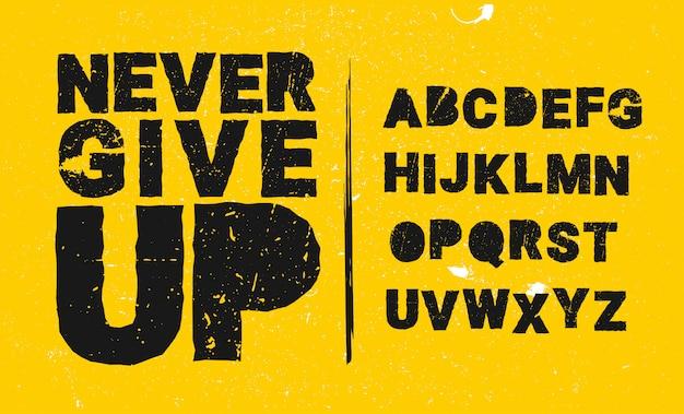 Fuente estilizada grunge y alfabeto