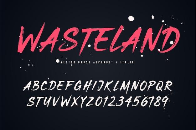 Fuente de estilo de pincel vectorial de wasteland, alfabeto, tipografía, tipografía muestras globales