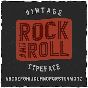 Fuente de etiqueta de rock and roll. bueno para usar en cualquier diseño de etiqueta vintage.