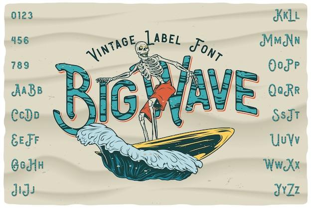 Fuente de etiqueta vintage big wave