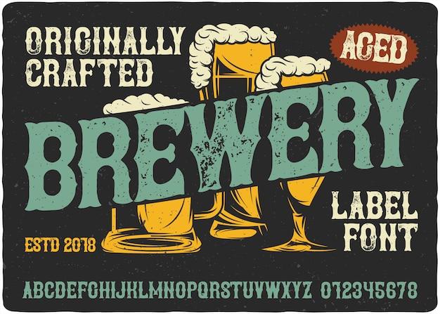 Fuente de etiqueta vintage de cervecería