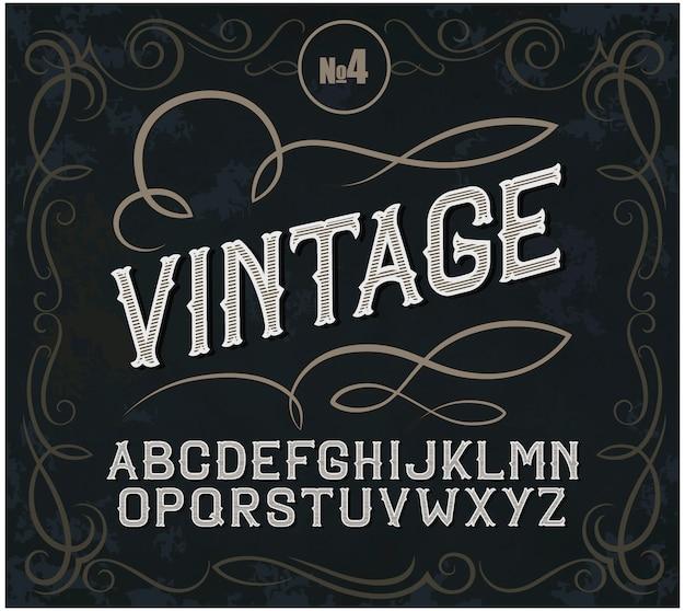 Fuente de etiqueta vintage estilo de etiqueta de alcohol