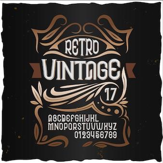Fuente de etiqueta vintage estilo de etiqueta de coñac con adorno vintage