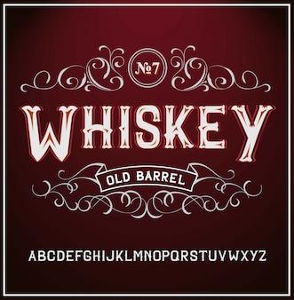 Fuente de etiqueta vintage estilo de etiqueta de whisky con adornos vintage