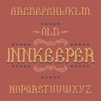 Fuente de etiqueta vintage llamada innkeeper