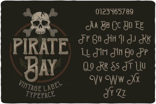 Fuente de etiqueta vintage de pirate bay
