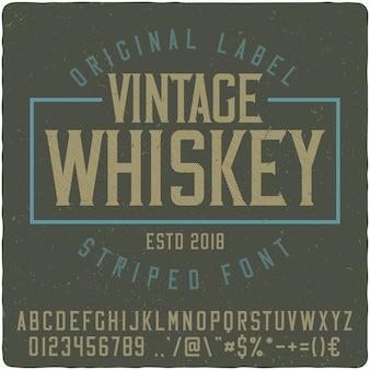 Fuente de etiqueta vintage whisky