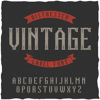 Fuente de etiqueta vintage