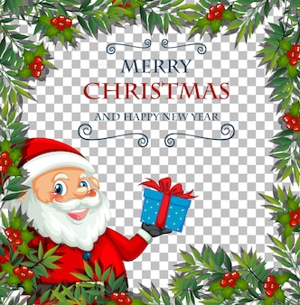 Fuente de feliz navidad y feliz año nuevo con marco de hoja y santa claus sobre fondo transparente