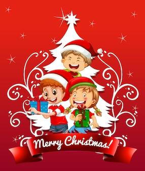 Fuente de feliz navidad con niños vestidos de traje de navidad sobre fondo rojo.