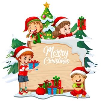 Fuente feliz navidad en tablero de madera con niños y objetos navideños sobre fondo blanco.