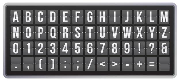 Fuente flip de marcador realista. alfabeto latino, números y símbolos en el panel. marcador mecánico para señales de aeropuerto de llegada y salida, estación de tren. ilustración de vector de tipografía abc