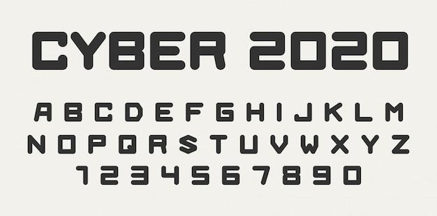 Fuente futurista, letras del alfabeto y números