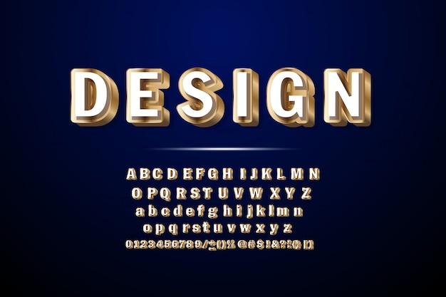 Fuente golden 3d de lujo. elegantes letras del alfabeto, números y símbolos.