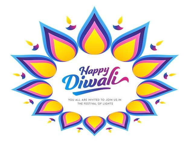 Fuente happy diwali en rangoli o estampado floral decorado con lámparas de aceite encendidas (diya).