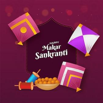 Fuente happy makar sankranti con cometas de colores