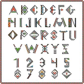 Fuente de indio nativo americano o alfabeto mexicano con números.