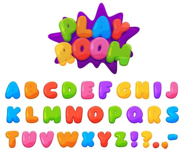 Fuente infantil alegre color hermoso. letras rechonchas de colores brillantes.