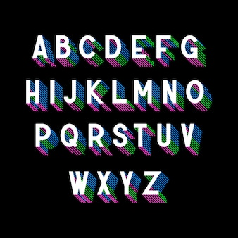 Fuente isométrica 3d con sombra de rayas de colores