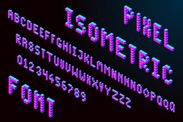 Fuente isométrica de píxeles 3d