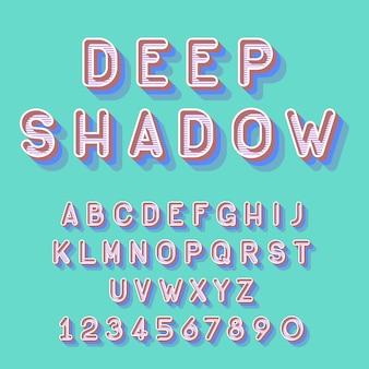 Fuente isométrica profunda fresca, letras del alfabeto números