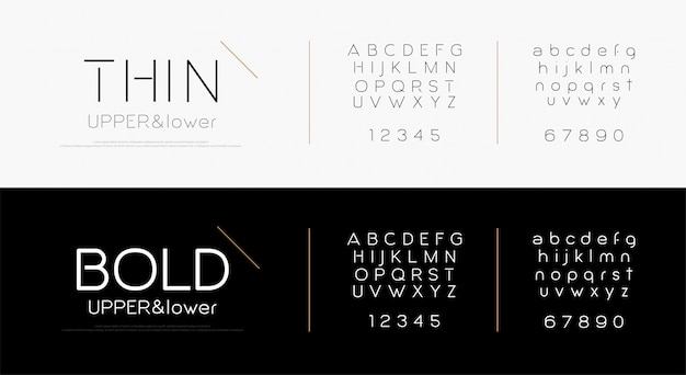 Fuente de letras del alfabeto elegante