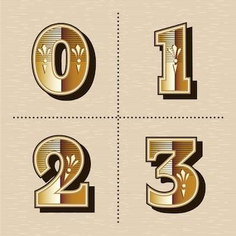 Fuente de letras del alfabeto de números occidentales vintage