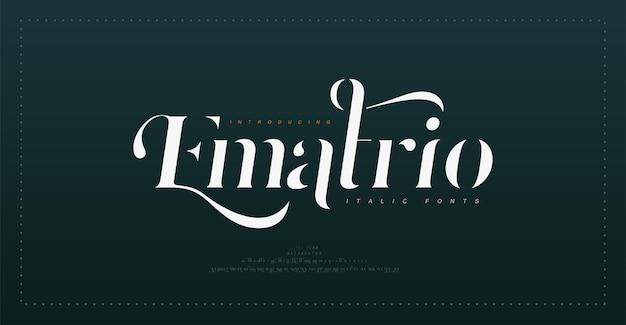 Fuente de letras del alfabeto vintage de lujo y tipografía numérica elegante fuente de serif de boda en cursiva retro