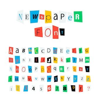 Fuente de letras de periódico colorido, signos del alfabeto latino y números en blanco
