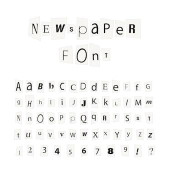 Fuente de letras de periódico negro, signos del alfabeto latino aislados en blanco