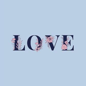 Fuente de letras de tipografía de palabra de vector de amor
