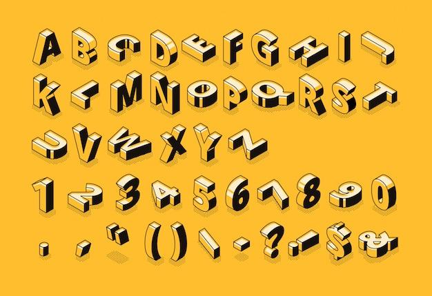 Fuente de línea isométrica y letras del alfabeto de semitono