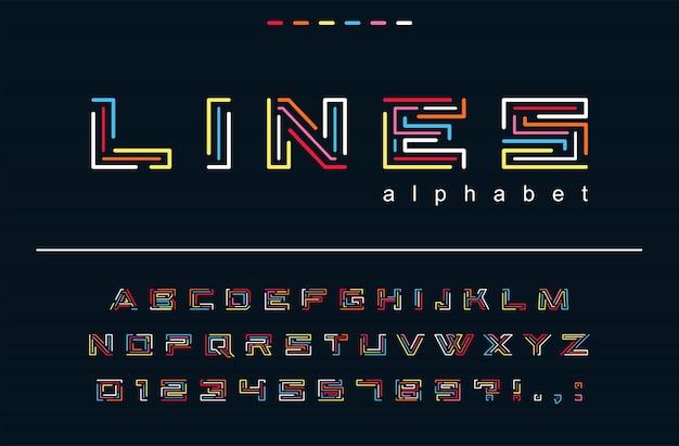 Fuente de líneas de color geométrico. tecnología, rompecabezas laberinto, divertido arte abstracto alfabeto. letras, números para la moda de moda, diseño festivo de logotipos de juegos creativos y festivos