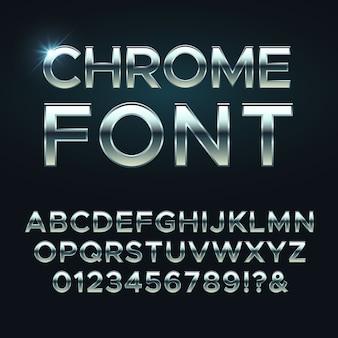 Fuente de metal cromado, letras del alfabeto metálico de acero
