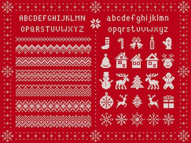 Fuente de navidad y elementos de navidad. tejer bordes sin costuras. patrón de suéter. adorno de fairisle con tipo, copo de nieve, ciervo, campana, árbol, muñeco de nieve, caja de regalo. impresión de punto. rojo texturado