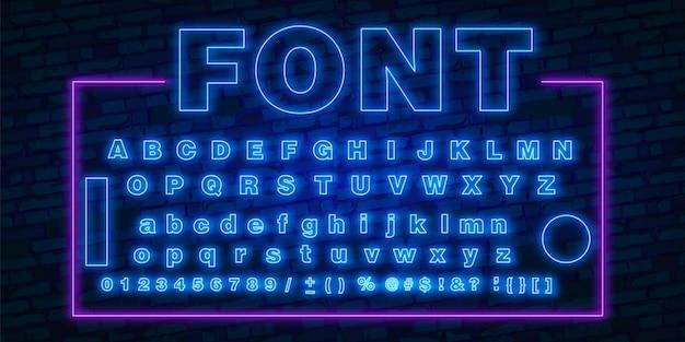Fuente de neón, 80s texto letra resplandor conjunto de luz. carácter ultra violeta abc. efecto luminoso uv alfabeto altamente detallado. estilo retro tecnoácido