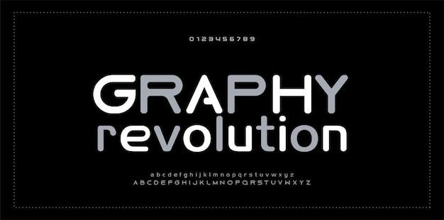 Fuente de número de alfabeto moderno abstracto tipografía