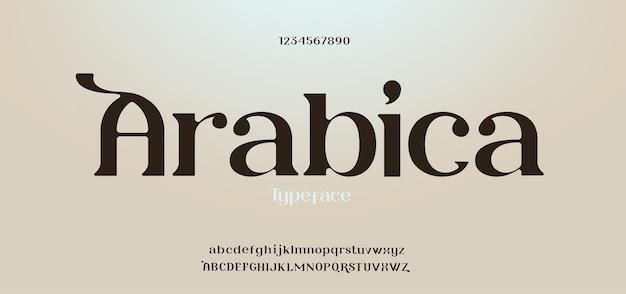 Fuente y número de letras del alfabeto clásico elegante. conjunto de alfabeto de tipografía serif