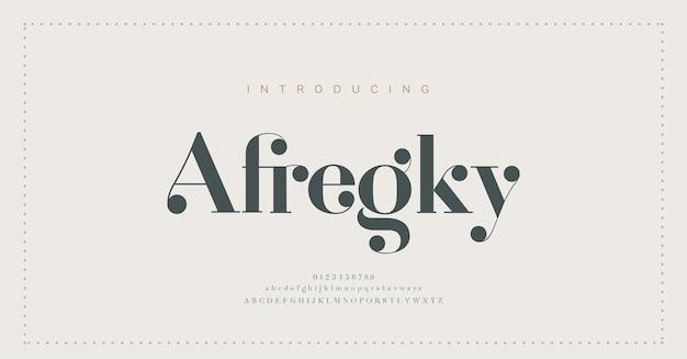 Fuente y número de letras del alfabeto elegante. diseños de moda minimalista con letras clásicas. tipografía fuentes serif modernas concepto vintage decorativo regular.