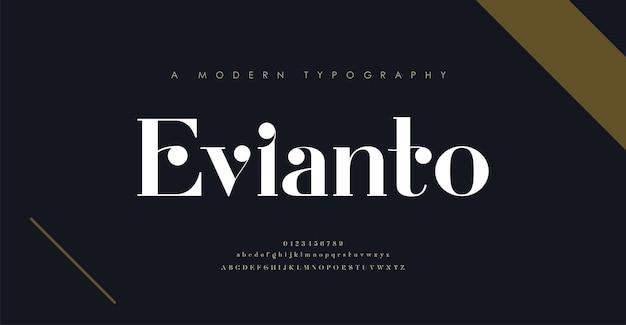 Fuente y número de letras del alfabeto elegante. diseños de moda minimalista con letras clásicas. tipografía moderna fuente serif.